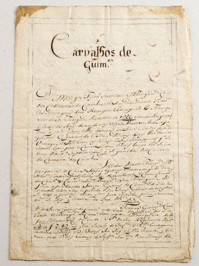Manuscrito de Genealogia, sec XVII – Familia Carvalhos de Guimarães