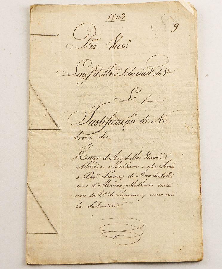 Justificação de Nobreza do titulo de Arrochela – manuscrito