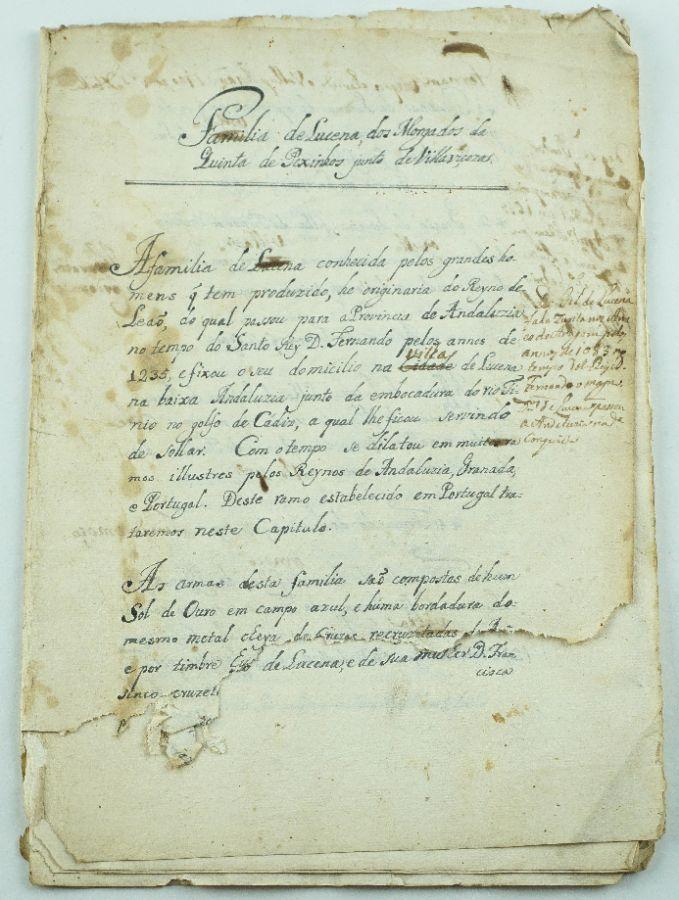 Manuscrito de Genealogia, sec XVII – Família Lucena