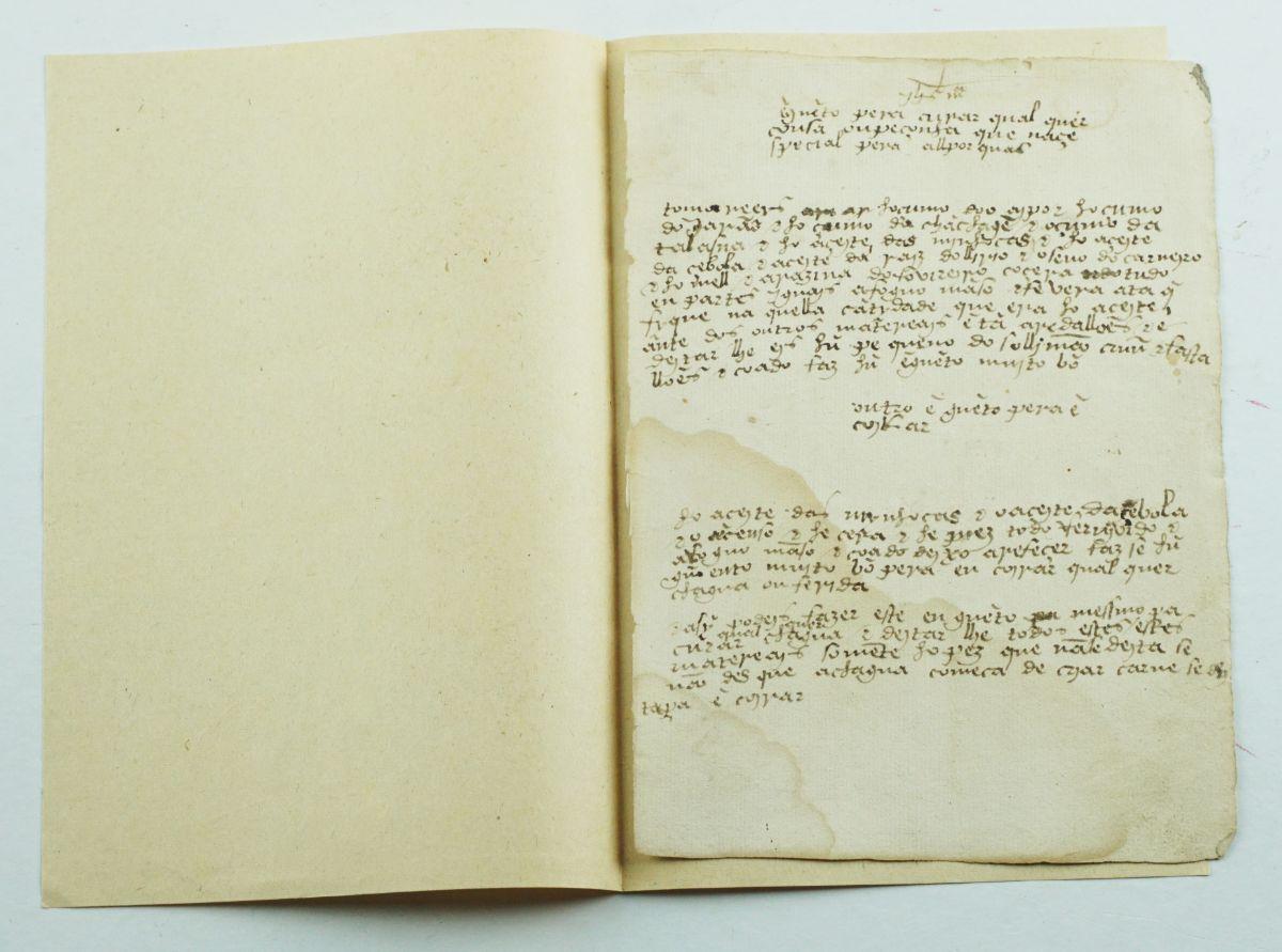 Receita médica - séc XVI - manuscrito de 1 folha
