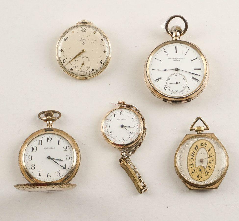 4 Relógios de bolso + Relógio de Lapela