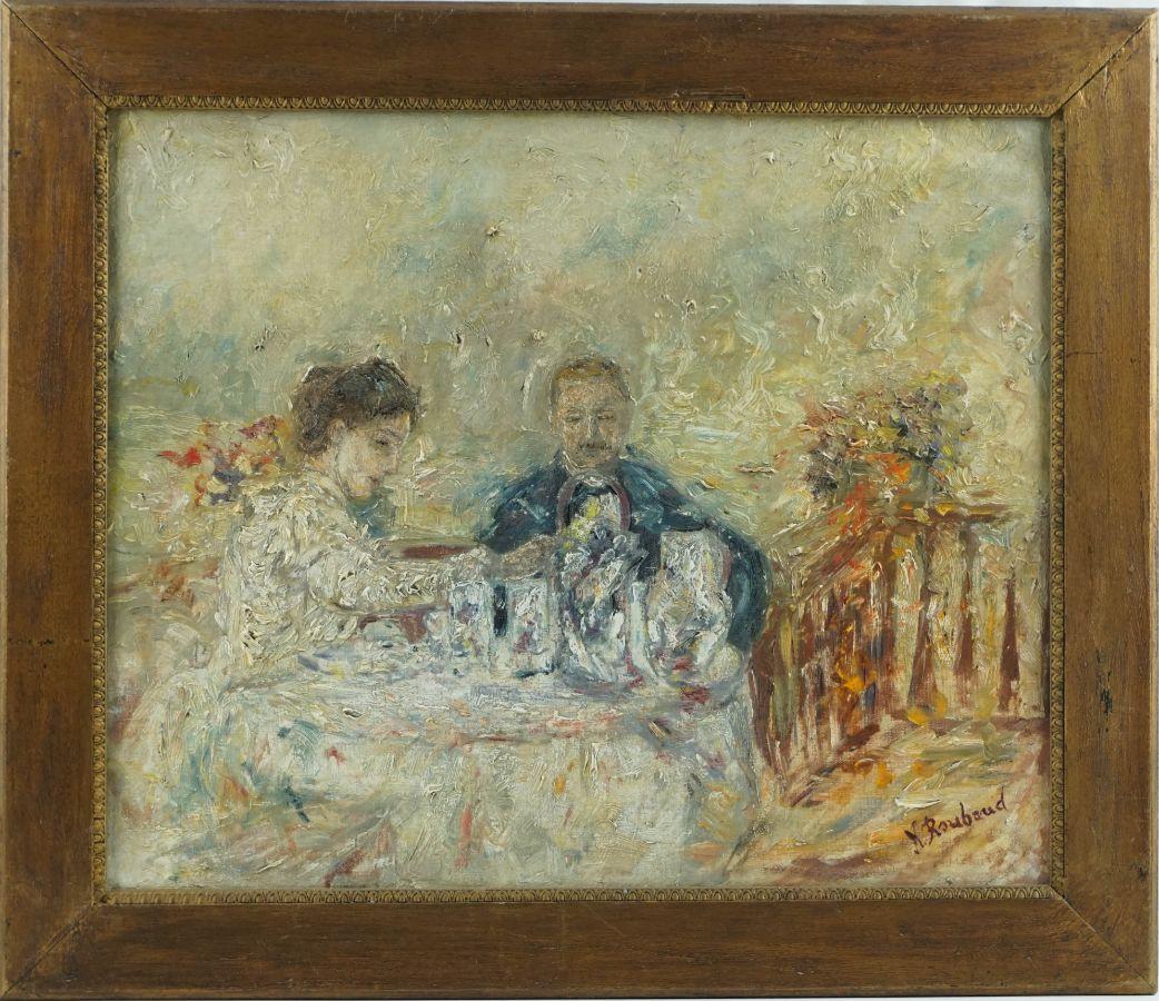 Casal à mesa