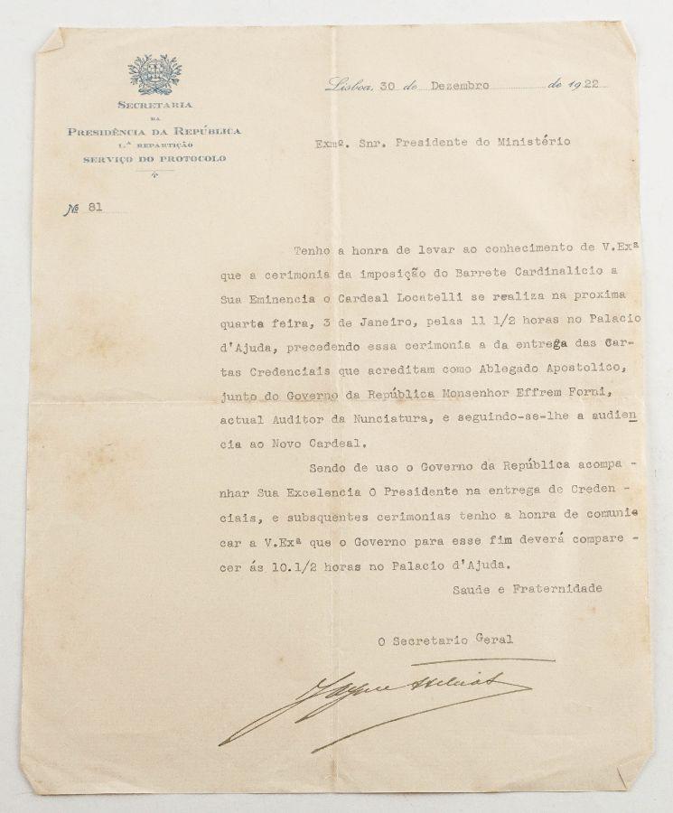 Imposição do barrete cardinalício ao cardeal Locatelli (1922)