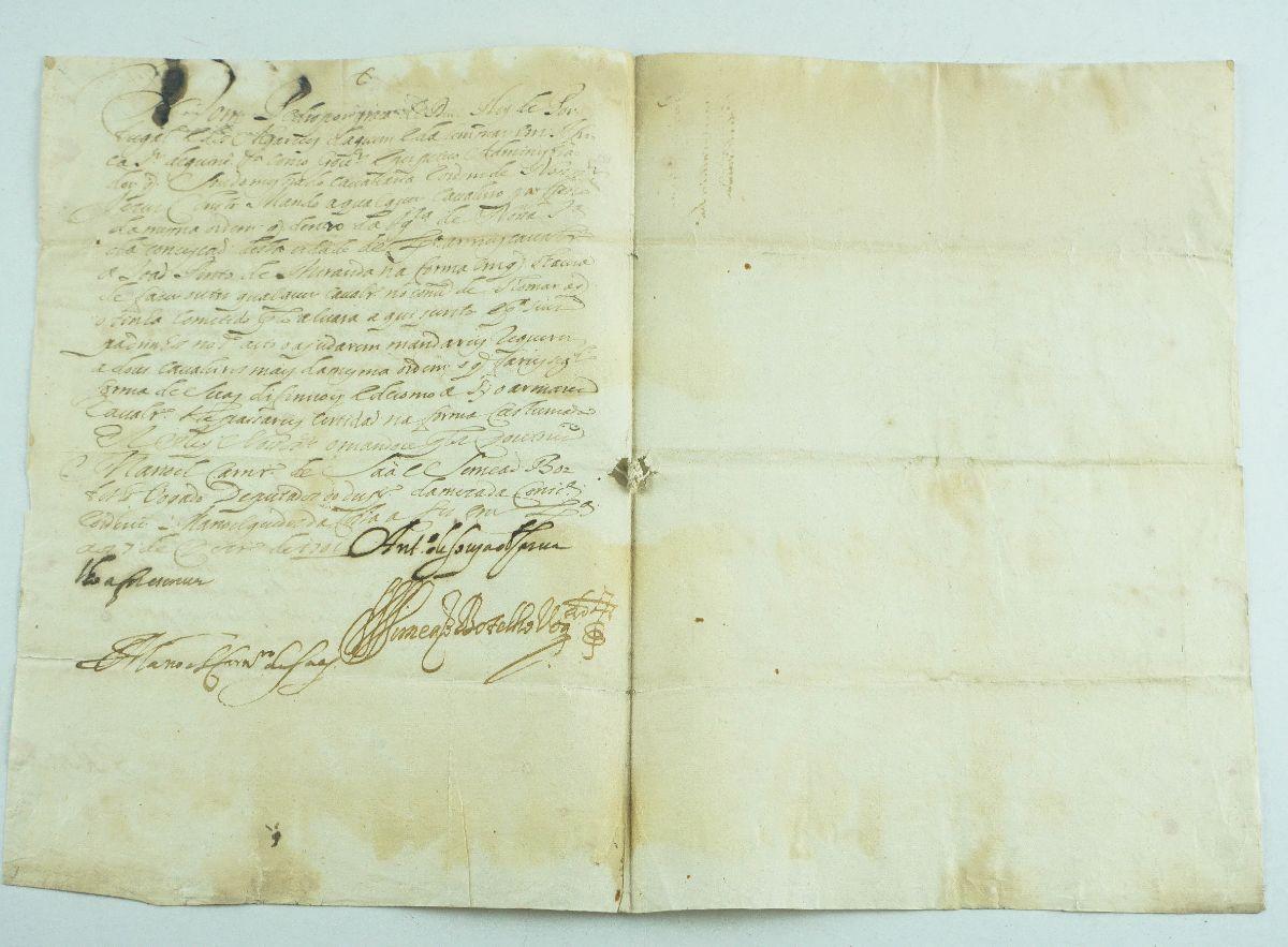 Importante manuscrito do Rei D. Pedro II para armar cavaleiro – 1701