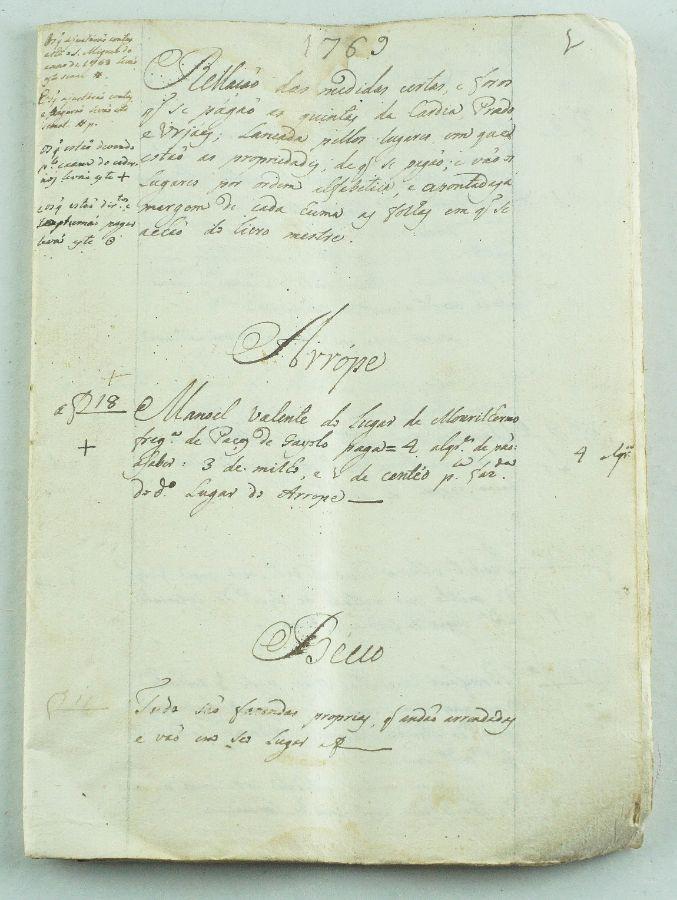 Caderno Manuscrito sec XVIII – 1769