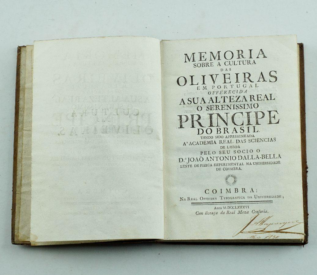 Memoria sobre a cultura das oliveiras em Portugal – Primeira edição 1786