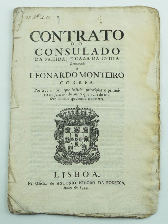 Consulado da Sahida e Caza da India -1744