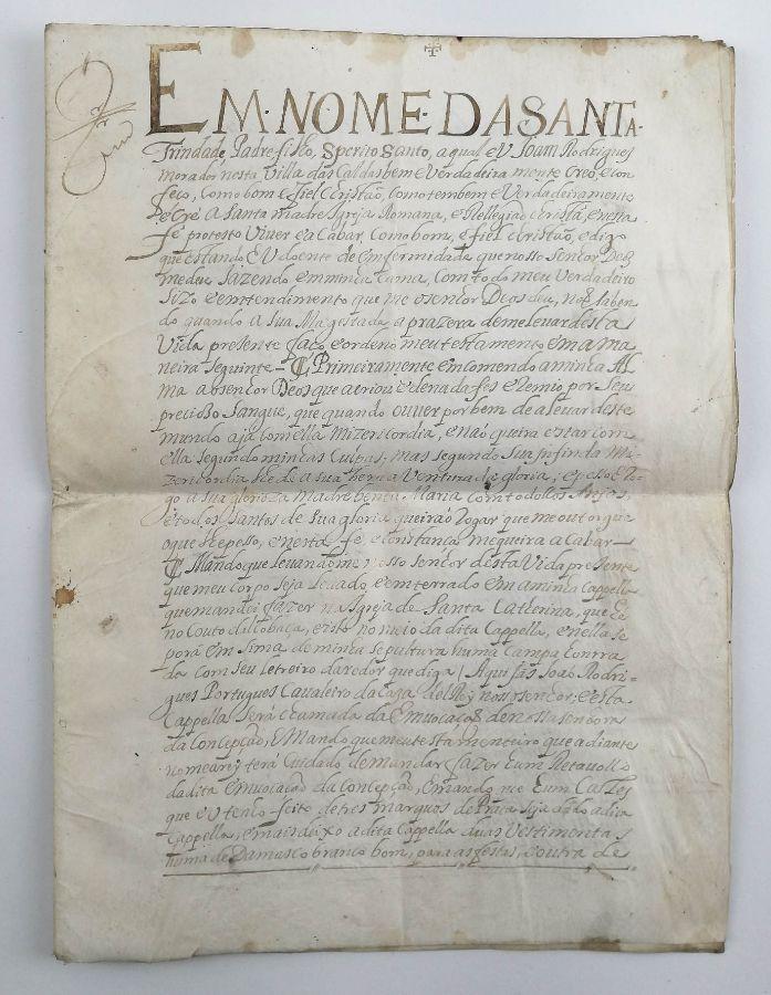 Pergaminho- Cavaleiro da Casa D El Rei, Vila das Caldas, 1544