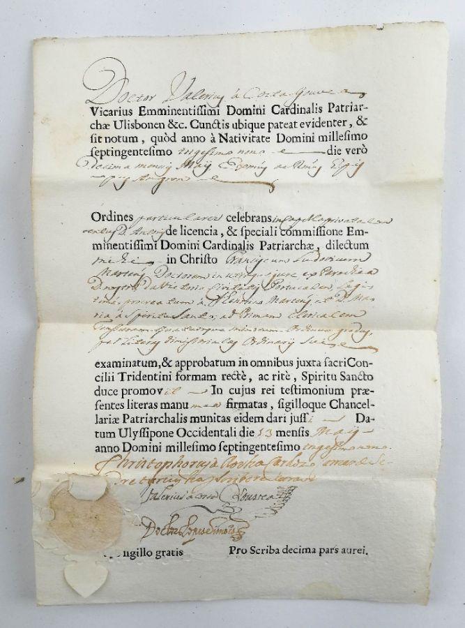 Instrumento de legitmação Papa Clemente XII e instrumentos de ordenação – 1732/ 1739