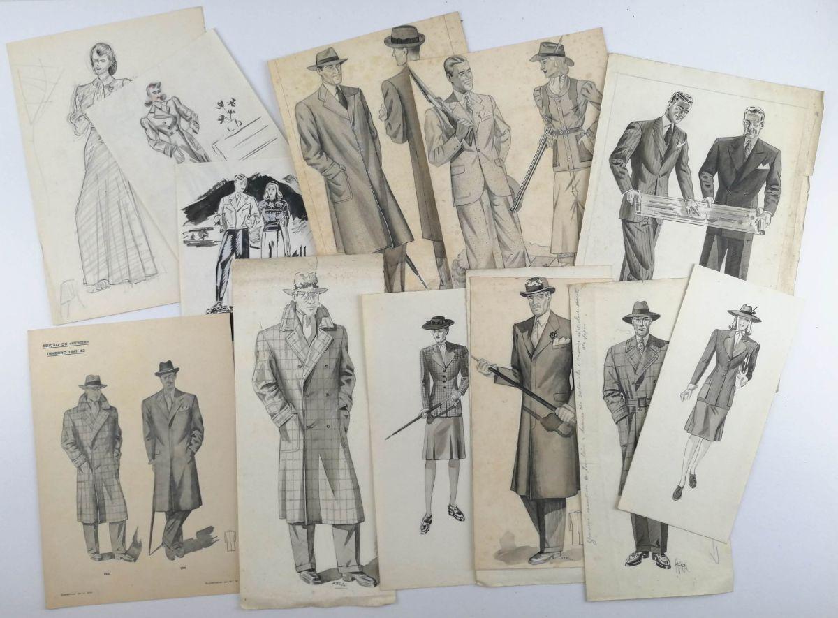 Publicidade. Originais de Figurinos e modelos para publicidade em revistas – anos 40