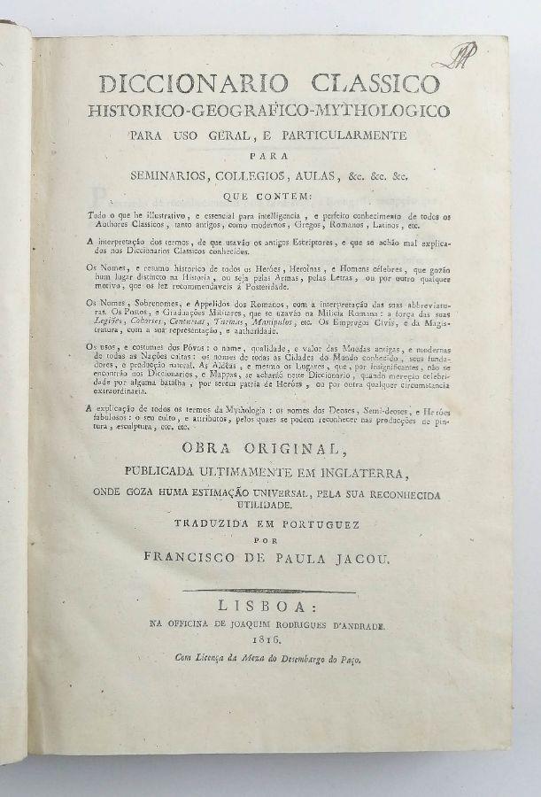 Diccionário Clássico Histórico – Geográfico –Mythologico
