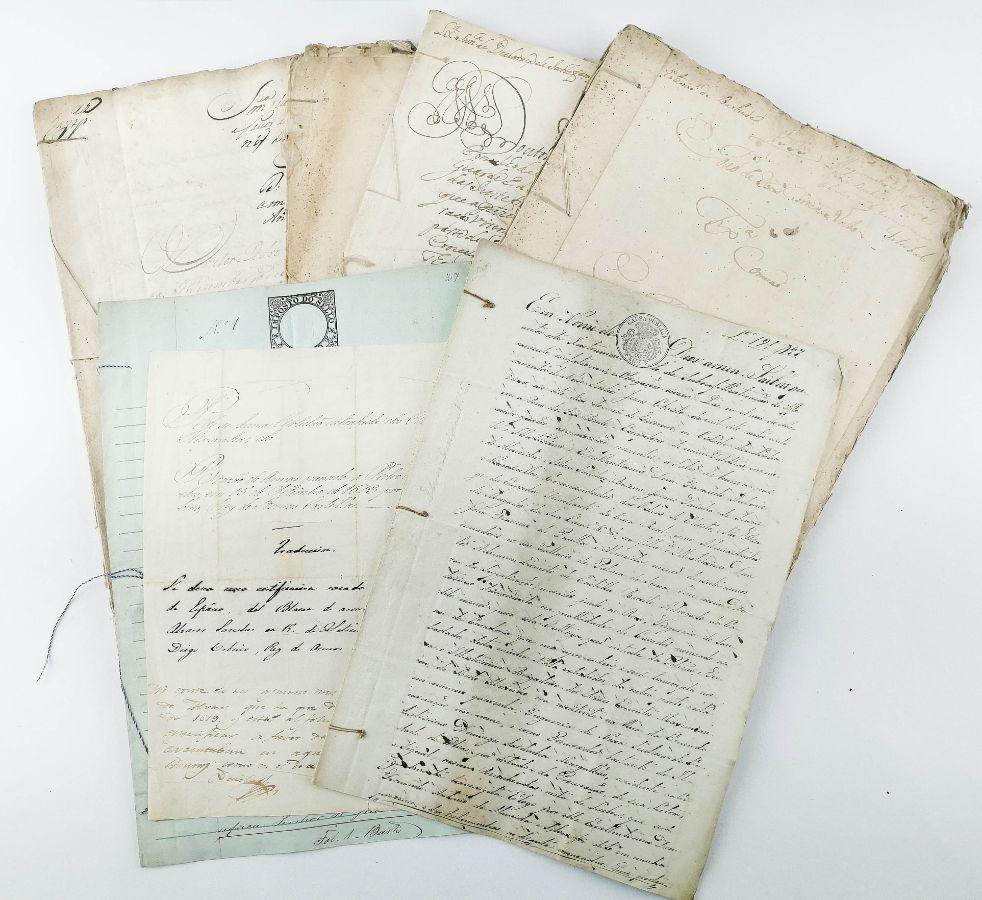 LOTE DE MANUSCRITOS - FAMÍLIA SANCHES DE BAENA. 1733 - 1881