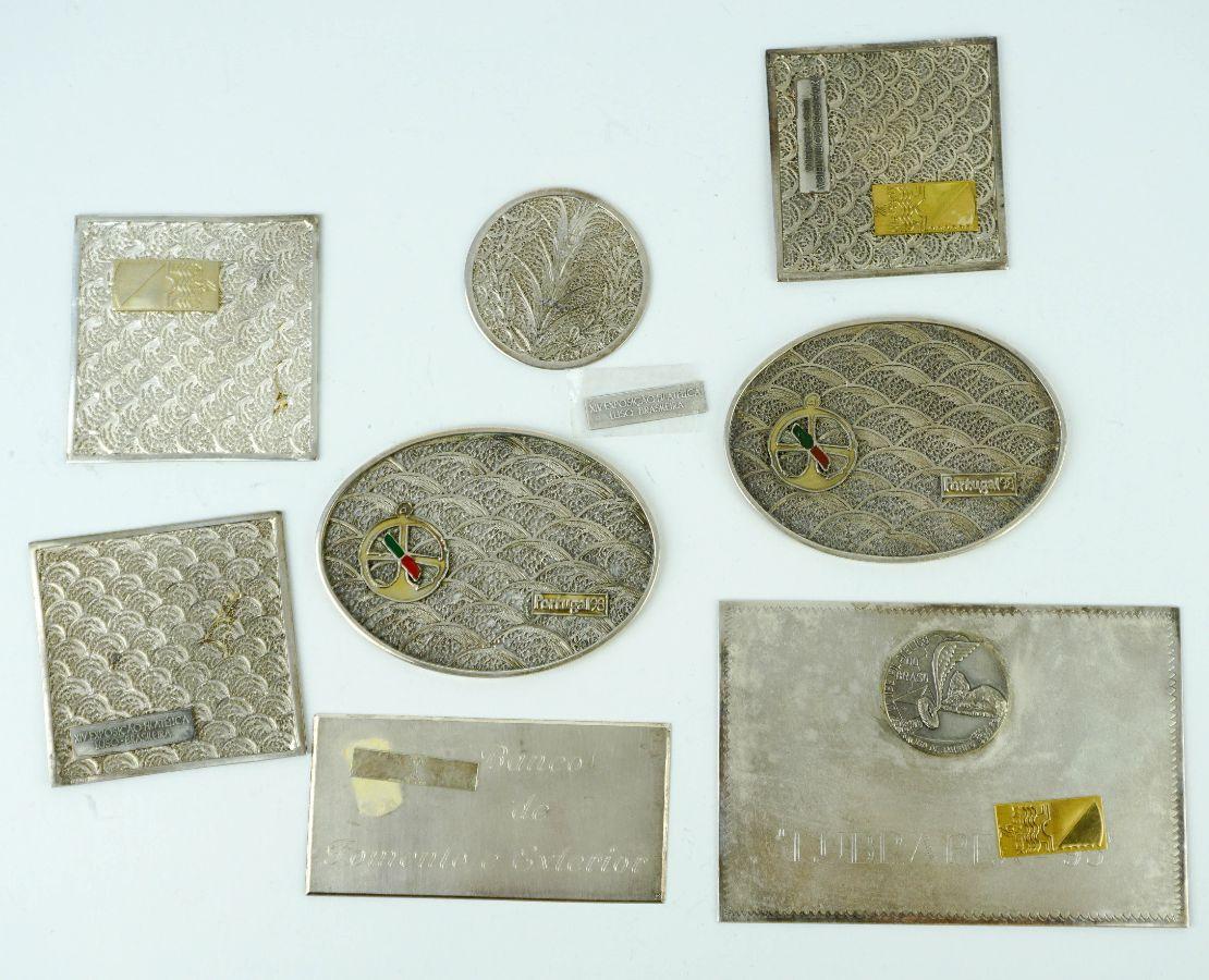 6 Placas comemorativas em filigrana de prata
