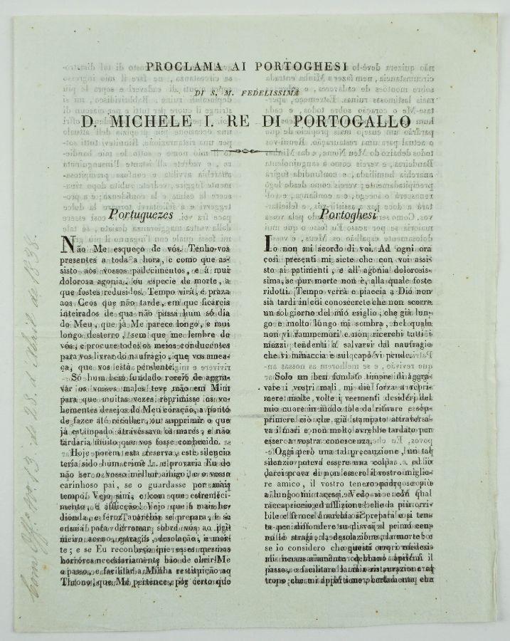 D. Miguel – proclamação aos Portugueses (1837)