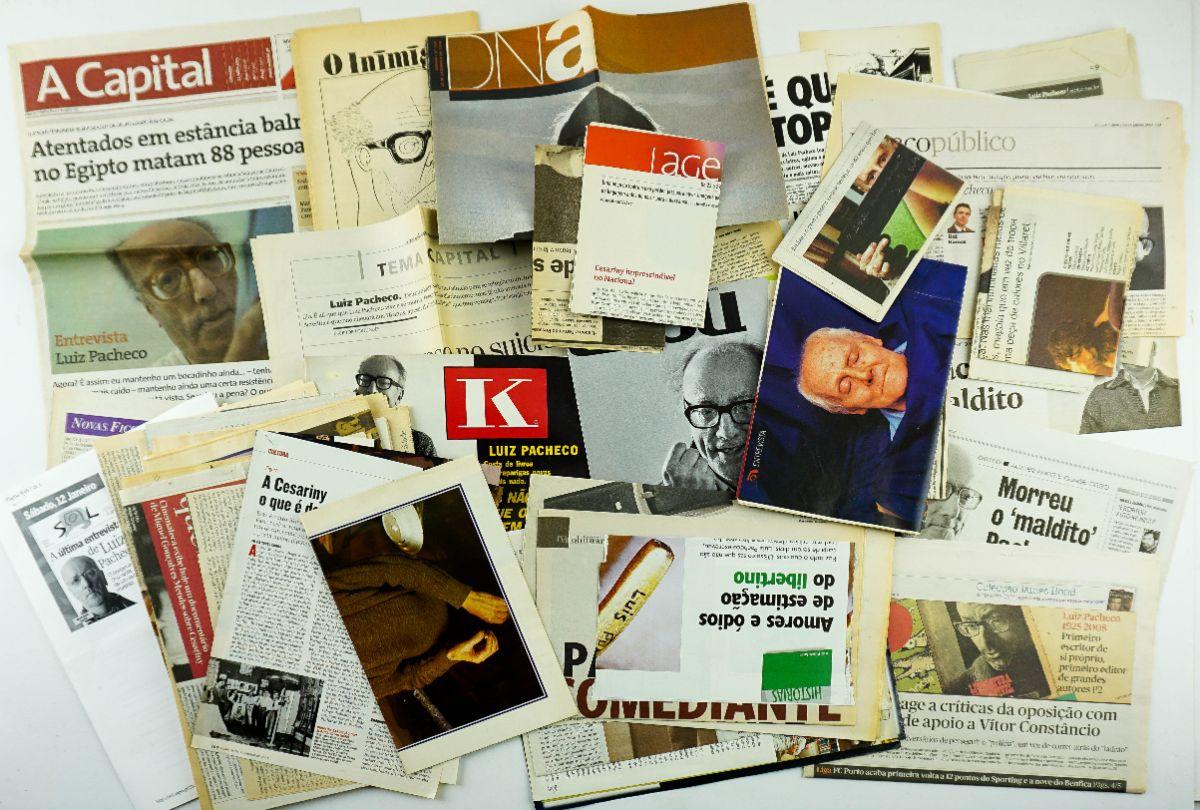 Conjunto de recortes de jornais sobre Mario Cesariny e Luiz Pacheco