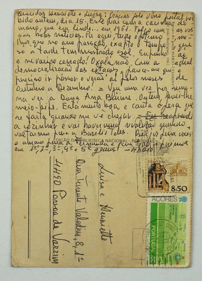 Mário Cesariny . auto retrato (desenho) e manuscrito