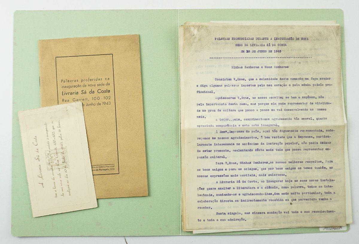 Importante documento e publicações da Livraria Sá da Costa