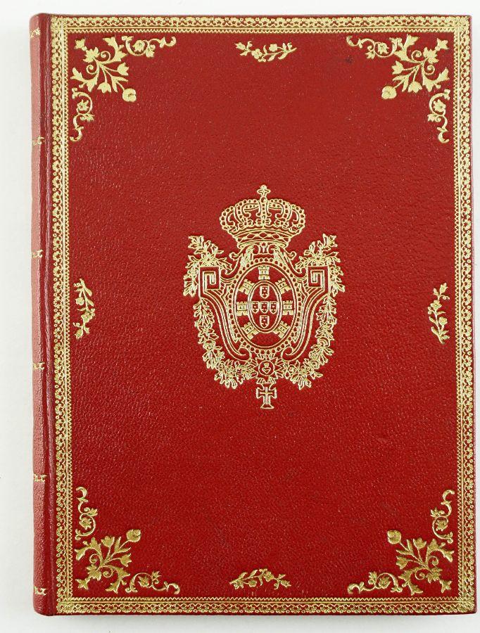 Conjunto de documentos , capa em pele vermelha