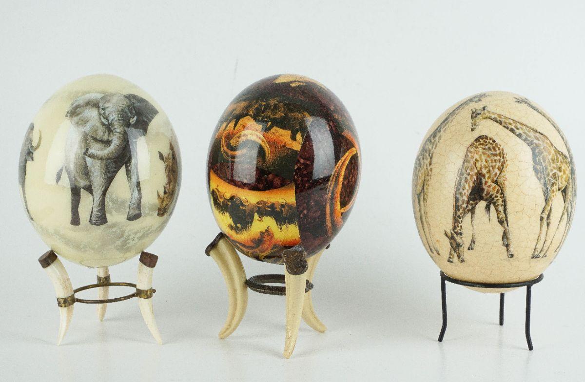 3 Ovos de avestruz decorativos