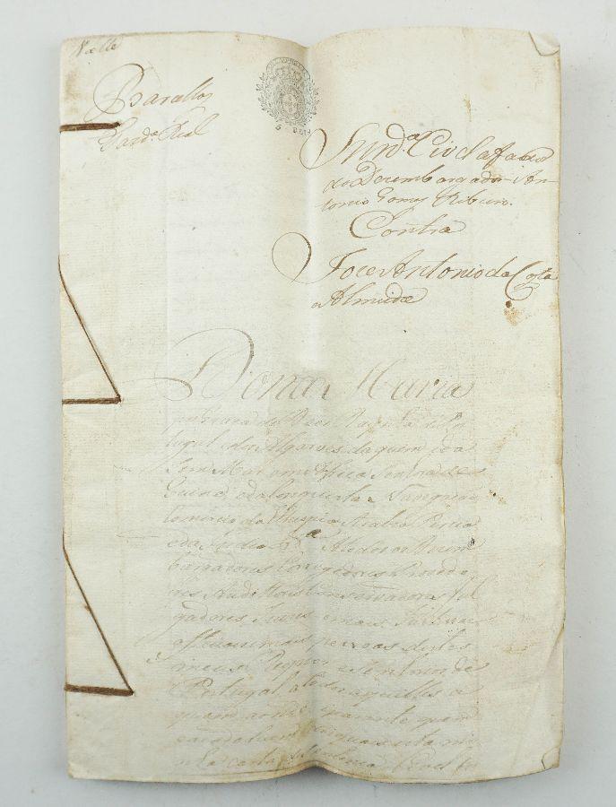 Manuscrito sobre papel selado, 44 fólios cosidos