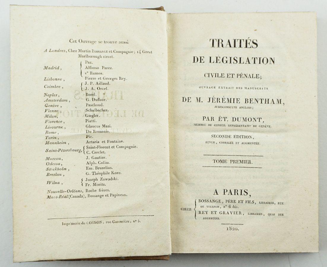 3 livros , Traités de Legislation Civile et Pénale