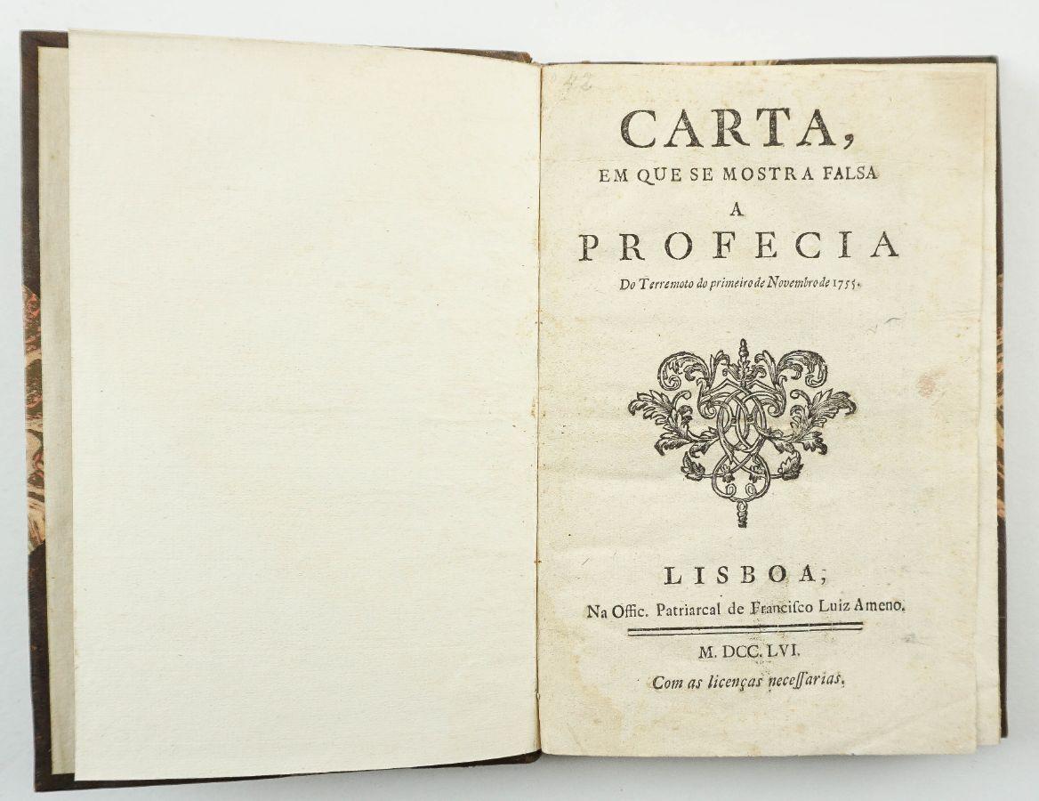 Carta em que se mostra falsa a profecia do Terremoto do primeiro de Novembro de 1755