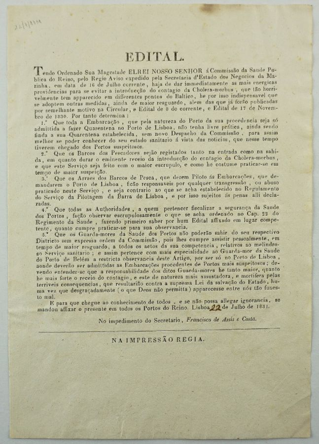 D. Miguel - Quarentena pelo surto de Cólera em 1831