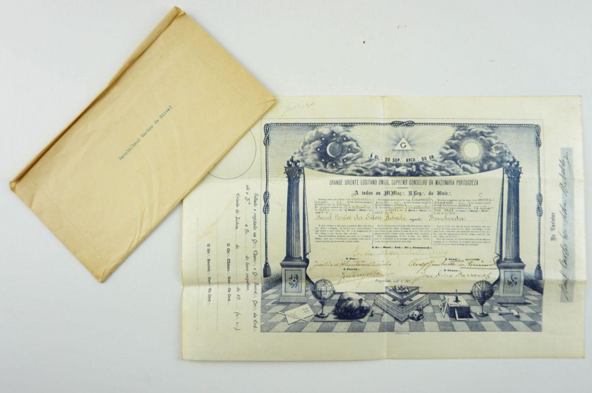 Diploma maçónico do grau de Mestre de Raúl Rebelo