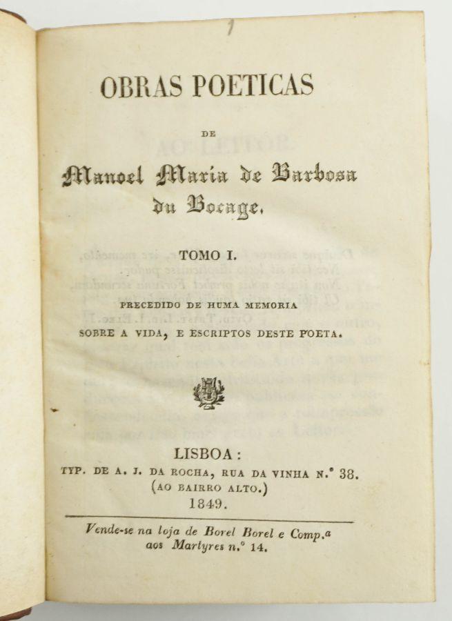 Obras Poeticas de Manoel Maria de Barbosa du Bocage.