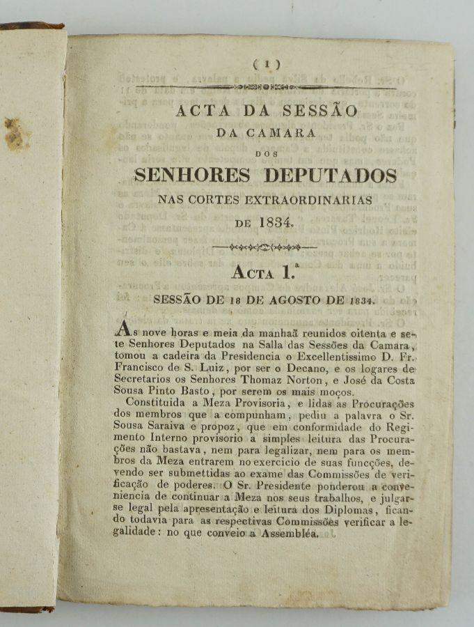 Liberalismo – 1ª sessão legislativa após a vitória liberal (1834)