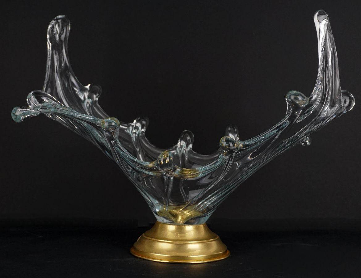 Centro de mesa de grande dimensão em cristal da Marinha Grande