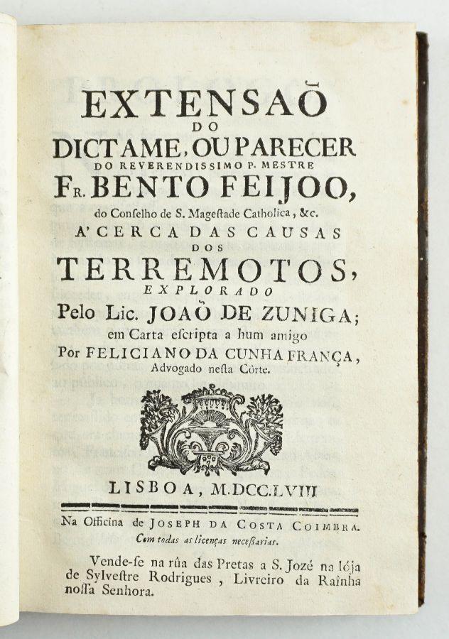Terramoto de Lisboa 1755 – publicação de 1758