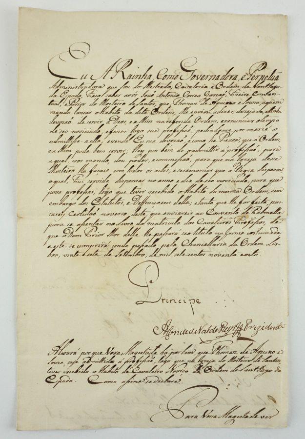 Manuscrito s/ papel, 1 bifólio, assinado