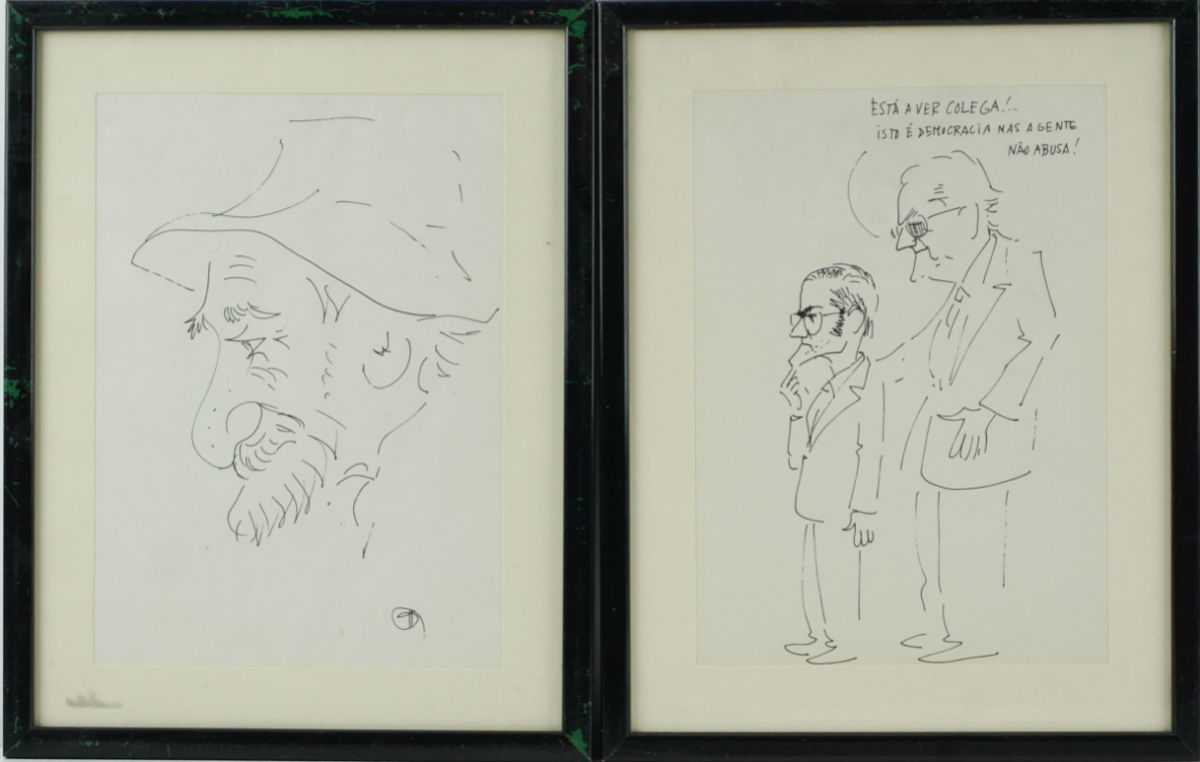 Desenhos humorísticos (3) e caricatura (1)
