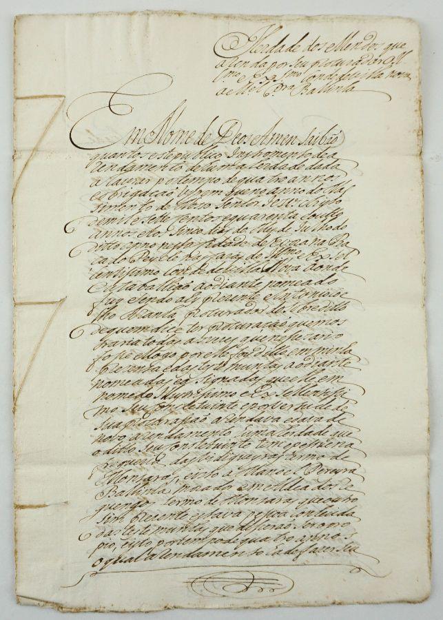Manuscrito s/ papel, 2 bifólios cosidos, assinado com sinal público.