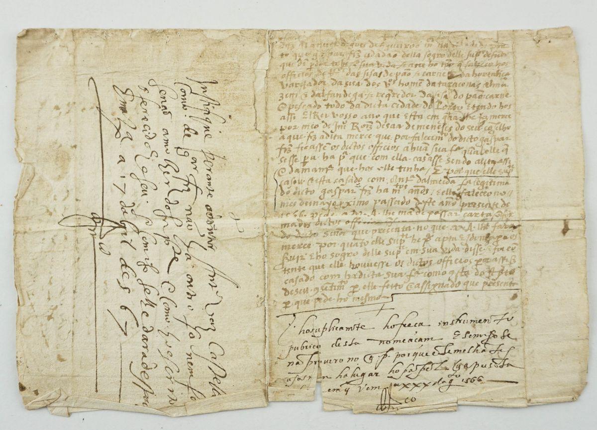 Manuscrito s/ papel, um bifólio, assinado.