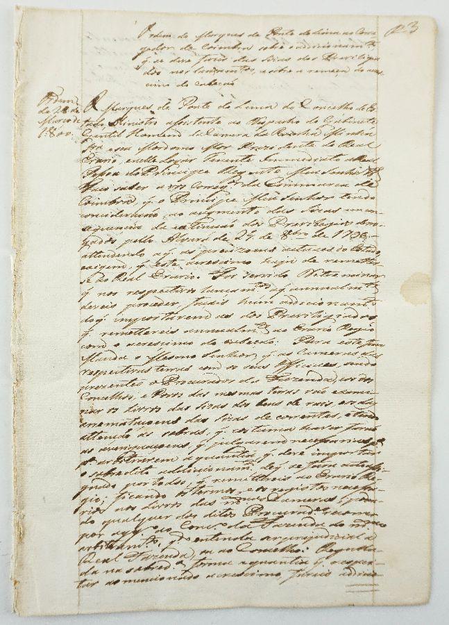 Ordem do Marquês de Ponte de Lima ao Carregador de Coimbra sobre os Livros de Privilégios.