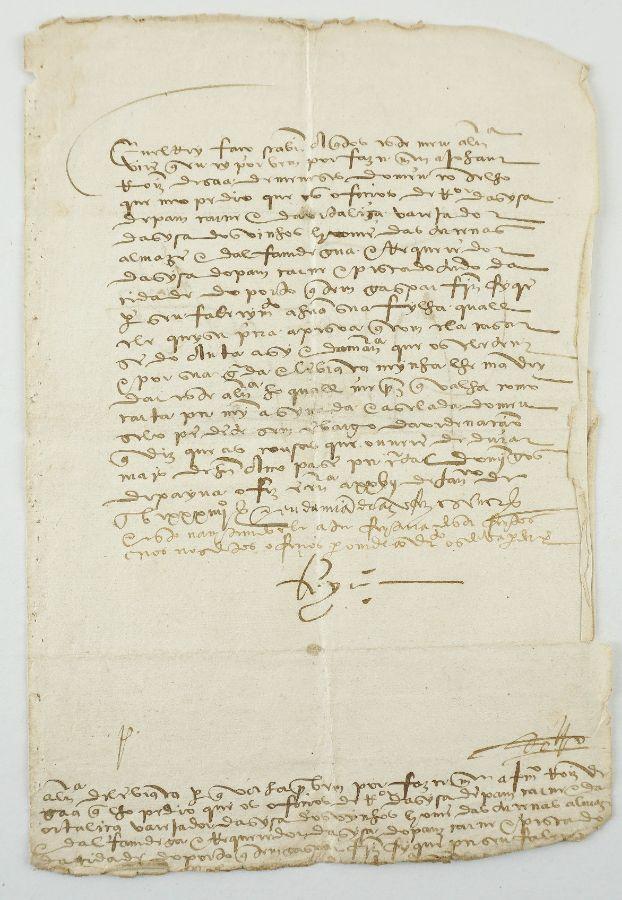 Manuscrito s/ papel um bifólio assinado