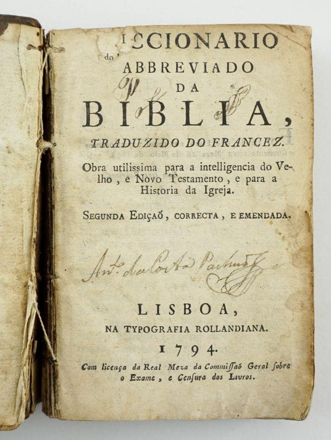 Diccionário Abreviado da Biblia - 1794