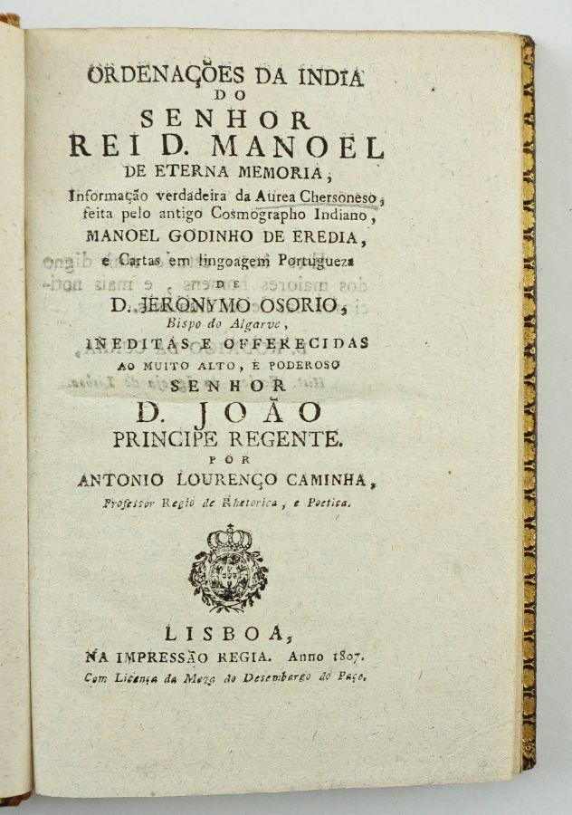 Ordenações da India do Senhor Rei D. Manuel