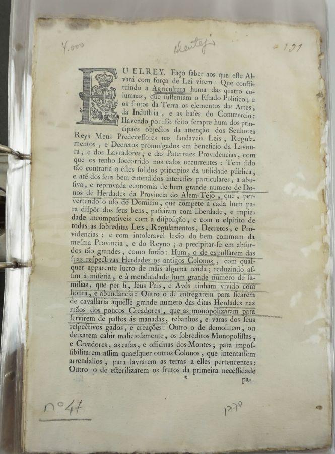 Colecção de Alvarás do sec XVIII