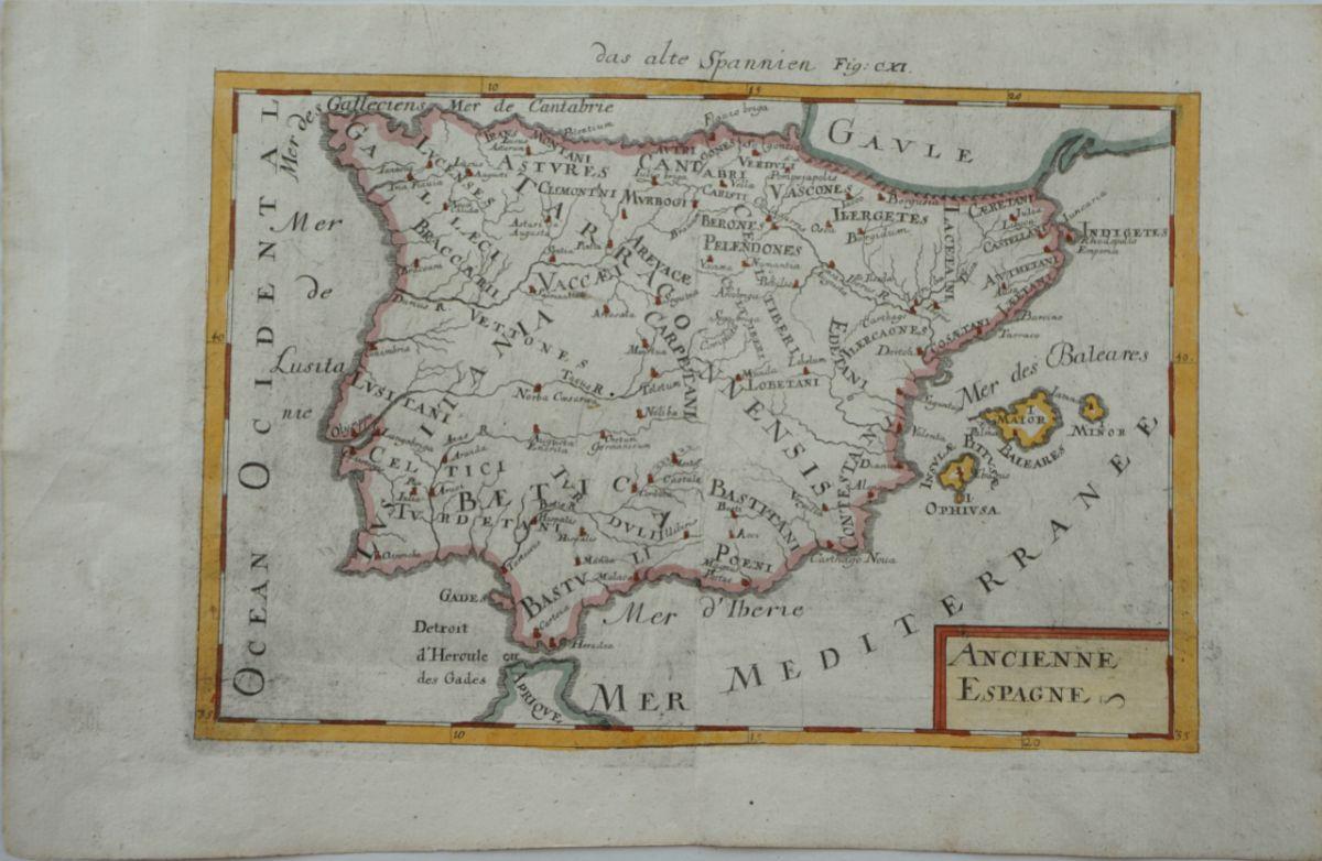 Mapa da Peninsula Ibérica Antiga (Ancienne Espagne)