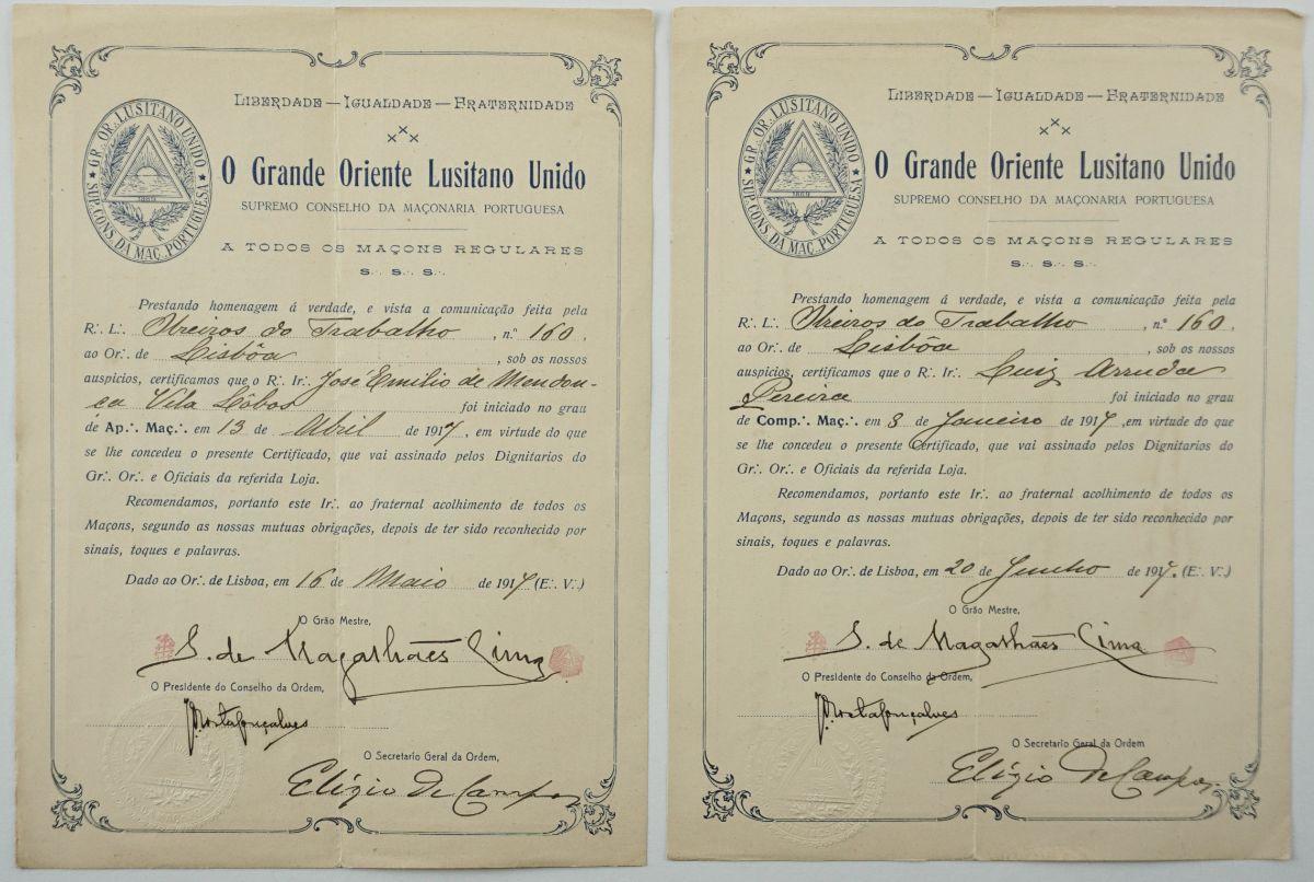 Diplomas maçónicos (1917)