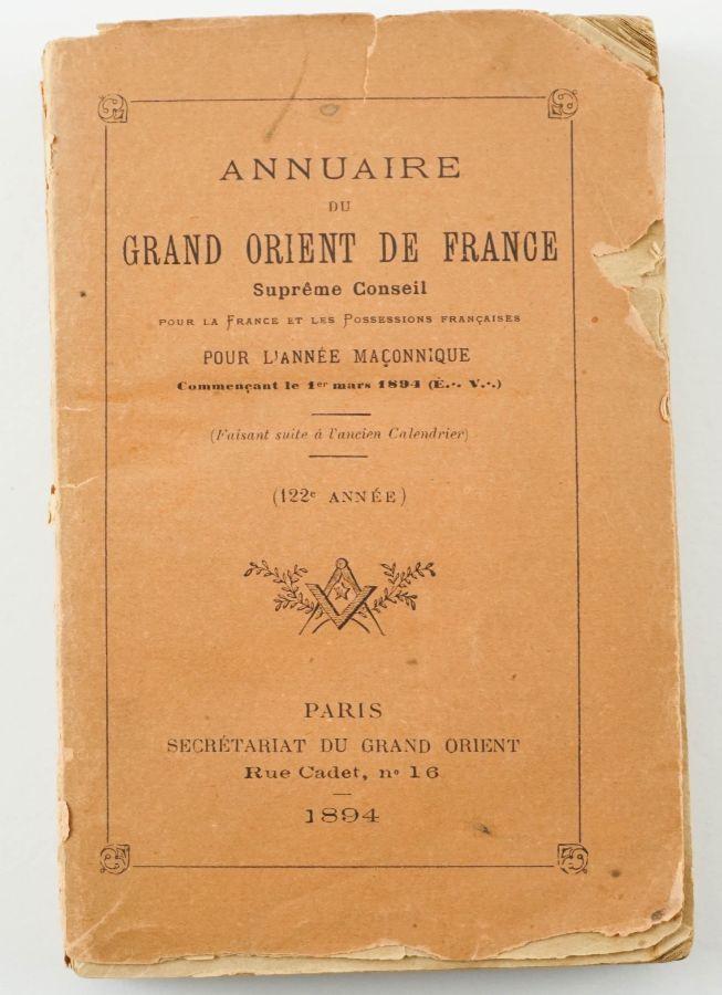 Maçonaria - Anuário do Grande Oriente de França (1894)