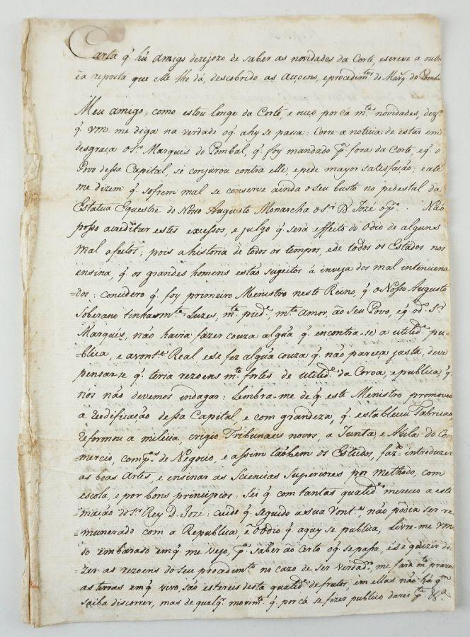 Carta manuscrita sobre Marquês de Pombal sec XVIII