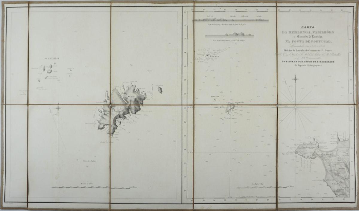 Carta da Berlenga, Farilhões e enseada de Peniche na costa de Portugal