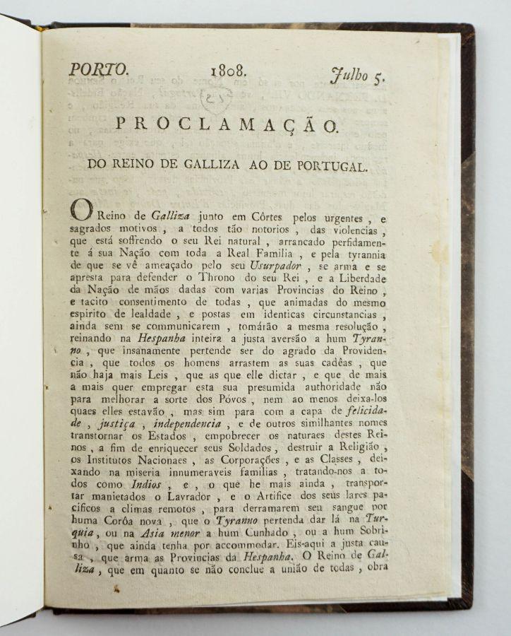 PROCLAMAÇÃO DO REINO DE GALLIZA AO DE PORTUGAL - 1808