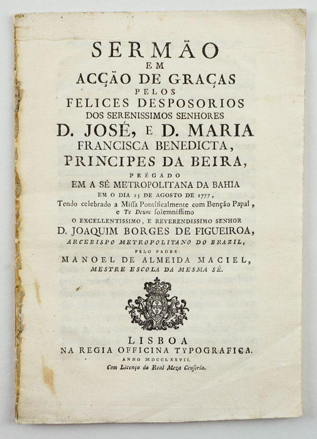 Sermão por D. José no Brasil - 1777